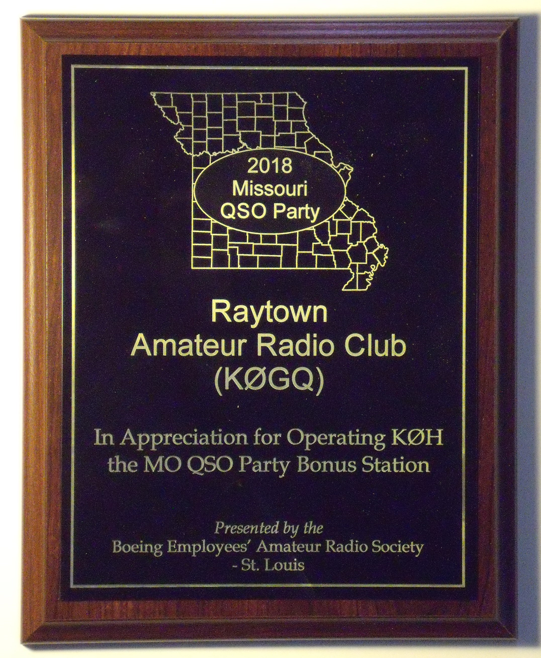 MOQP 18, Plaque 20, Raytown Amateur Radio Club (K0GQ)